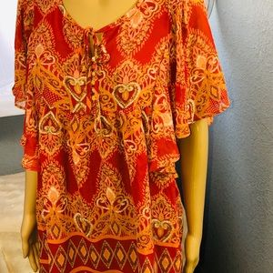 Apt 29 Blouse Orange Print Design Size M NWOT V